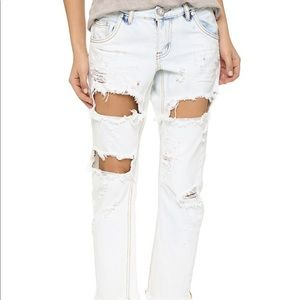 One Teaspoon Lonely Boy Slouch Jeans in Iced Blue